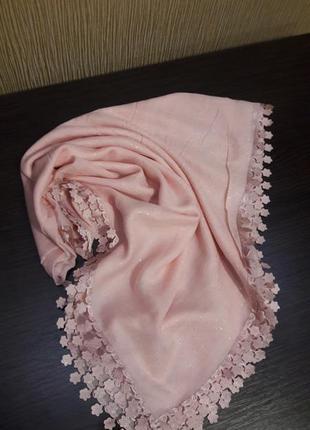 💗шикарный хлопковый платок нежнейший пудрa розовый напыление