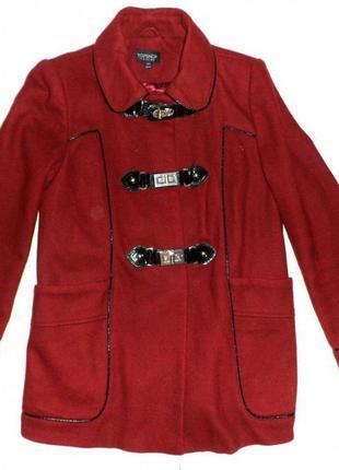 №50 демисезонное бордовое пальто topshop