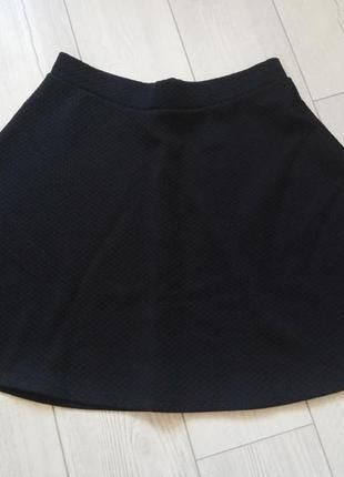 Фактурная черная юбка-солнце h&m