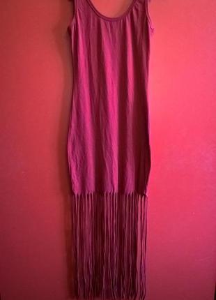 Платье майка с длинной бахромой