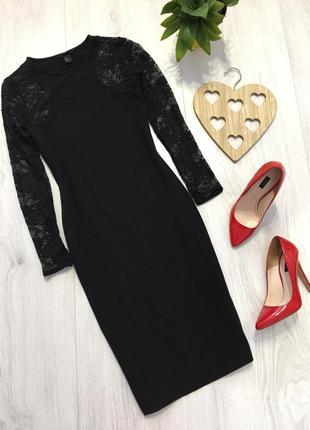 Трикотажное платье миди, с кружевными рукавами