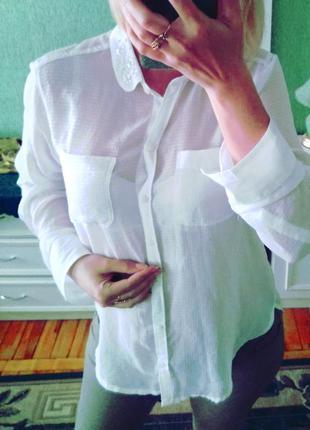 Красивая🐈50%скидки шифоновая😉 белоснежная  🐼 abercrombie & fitch блузка  с камнями