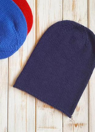 Детская шапка бини вязаная (темно-синяя)