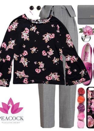 Модная весенние блузочка с расклешенными рукавом бренд peacocks