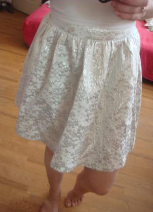 Mohito юбка серебристая летняя размер xs/34