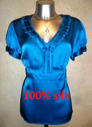 Аквамариновая шёлковая синяя голубая бирюзовая блуза monsoon l-xl 16