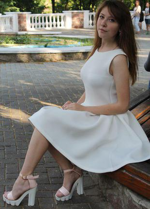 Шикарное неопреновое/неопрен платье летнее солнце клеш