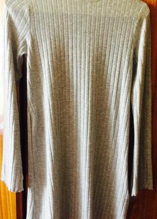 Платье туника свитер серый