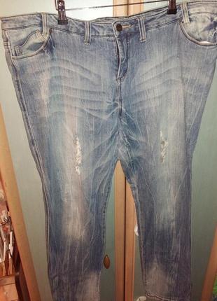 Стильные, рваные джинсы большого размера(58)