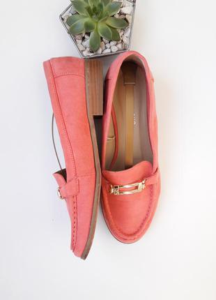 Лососевые лоферы туфли под замш