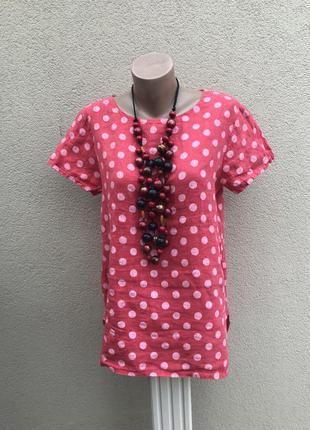 Красивая блуза,рубаха удлиненная по спинке,лен100%,розовая туника в горохи италия.