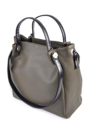 e15081ad144d Женская сумка шоппер с ручками на плечо зеленая хаки с черными вставками