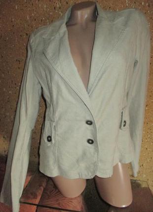 14р*летний пиджак с поясом,лён,пог 50+-..см