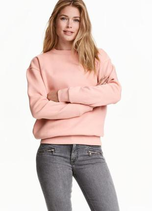 Свитшот розовая пудра h&m,пудровый свитшот h&m s,батник розовая пудра