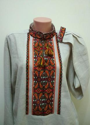 Эксклюзивная мужская рубашка-вышиванка лен(ручная вышивка).