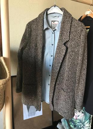 Пиджак жакет как свитер в рубчик