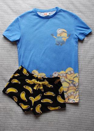 Пижама миньоны шорты футболка домашний костюм комплект купить цена