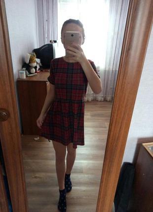 Платье в шотландскую клетку мини