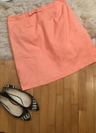 Jigsaw оригинал юбка персиковая морковная розовая хлопковая
