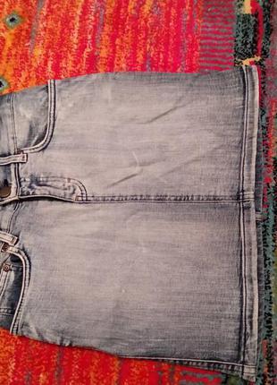 Винтажная джинсовая юбка высокая посадка