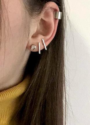 Кафф на ухо и серьги\ набор \серебро и золото (много бижутерии)1