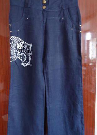 Льняные широкие брюки с тигром с-м