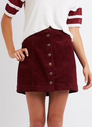 Трендовая вельветовая юбка  трапеция мини  от  denim co