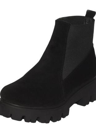 Ботильоны натуральный замш на тракторной подошве winner boots замшевые ботинки полусапожки
