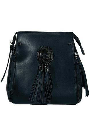 Черная кожаная сумка, рюкзак, модель кросс-боди, крос боди с бахромой