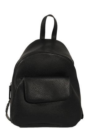 Черный кожаный рюкзак, портфель в стиле casual