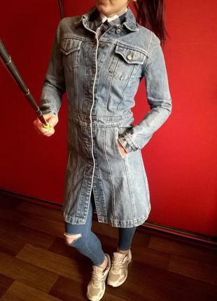 Винтажный,олдскульный джинсовый тренч
