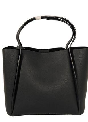 Сумка шоппер черного цвета, классическая