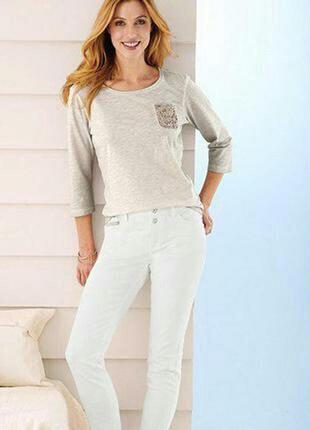 Белые зауженные джинсы от тсм tchibo р. 48