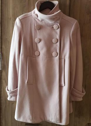 Пальто zara пудрового цвета