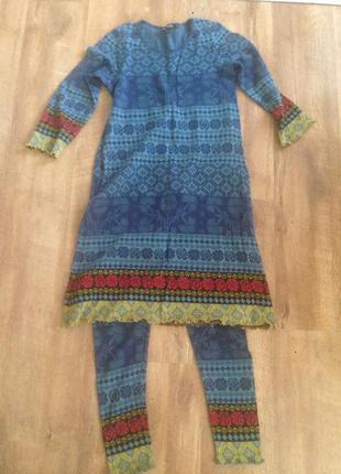 Трикотажный костюм - платье, лосины