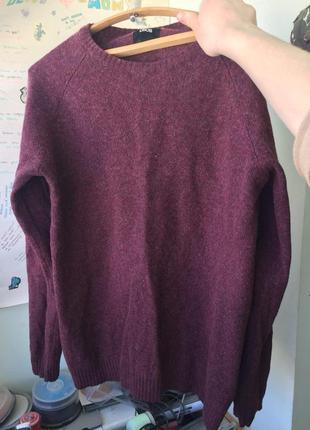 Бордовый шерстяной свитер asos