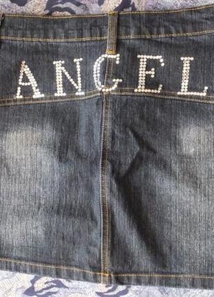 Джинсовая мини юбка с паетками miss posh