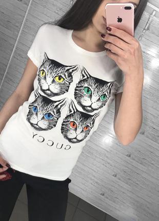 Футболка gucci, футболка коты, бирки под оригинал