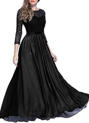 Роскошное длинное вечернее платье miusol, гипюровый верх, р.xs-s