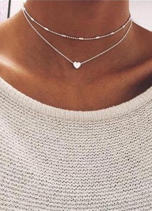 Двойная цепочка чокер с сердечком серебристого цвета