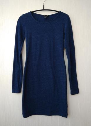 Стильное прямое вязаное платье узкое карандаш меланж