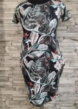 Бирюзовое трикотажное платье баллон