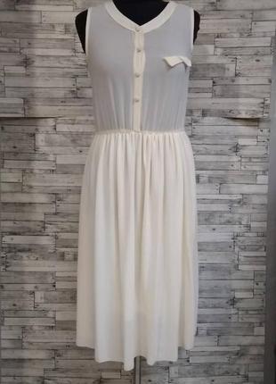 Молочное воздушное платье с ажурной спинкой