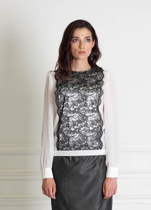 Белая шифоновая блузка с кружевной вставкой bonanza