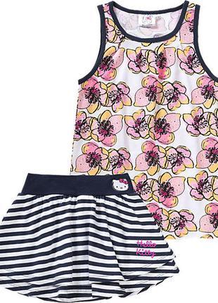 Набор 92 98 104 110 hello kitty китти полосатая юбка цветы цветная майка сарафан комплект