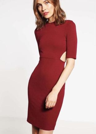 Шикарное платье, стильное бардовое платье , красное платье