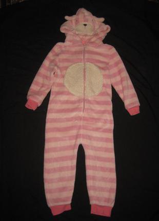 4-6 лет, махровая теплющая пижама слип на молнии котик!