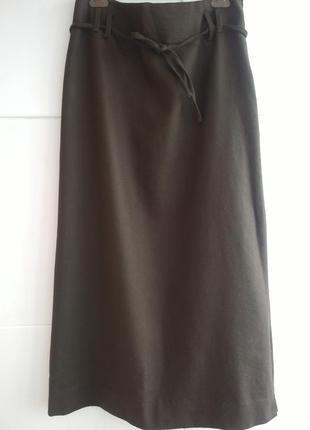 Стильная юбка zara цвета хаки из натурального материала