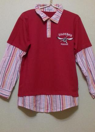 Футболка рубашка с длинным рукавом лонгслив 146-152 см