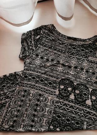 Платье миди хлопок черепы стильный принт
